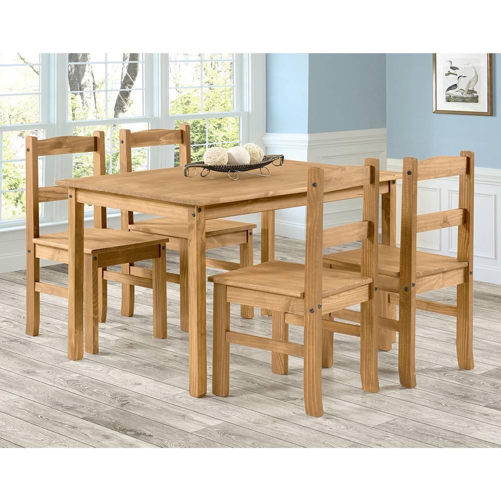 IDEA Nábytok Stôl 100x80 + 4 stoličky CORONA 2 vosk