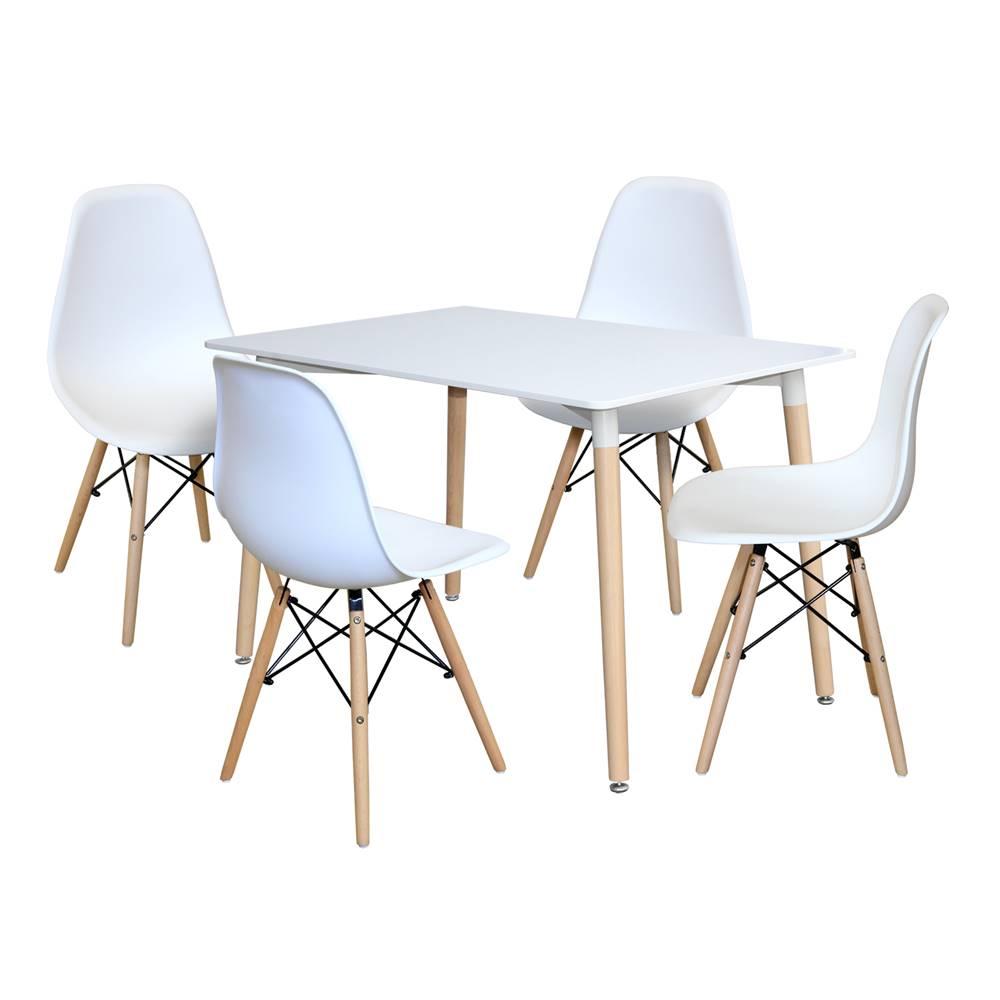 IDEA Nábytok Jedálenský stôl 120x80 UNO biely + 4 stoličky UNO biele