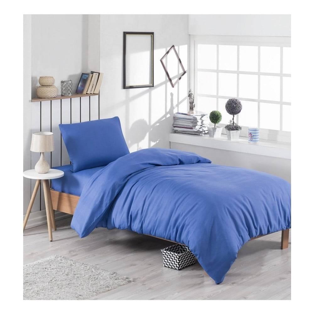 EnLora Home Modré obliečky s prímesou bavlny na jednolôžko Paint, 140 × 200 cm