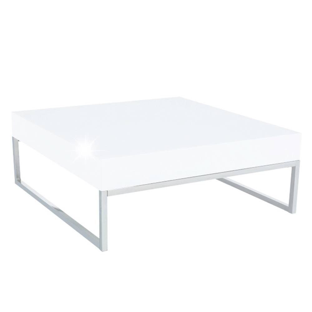 Tempo Kondela Konferenčný stolík chróm/biela extra vysoký lesk HG BOTTI poškodený tovar