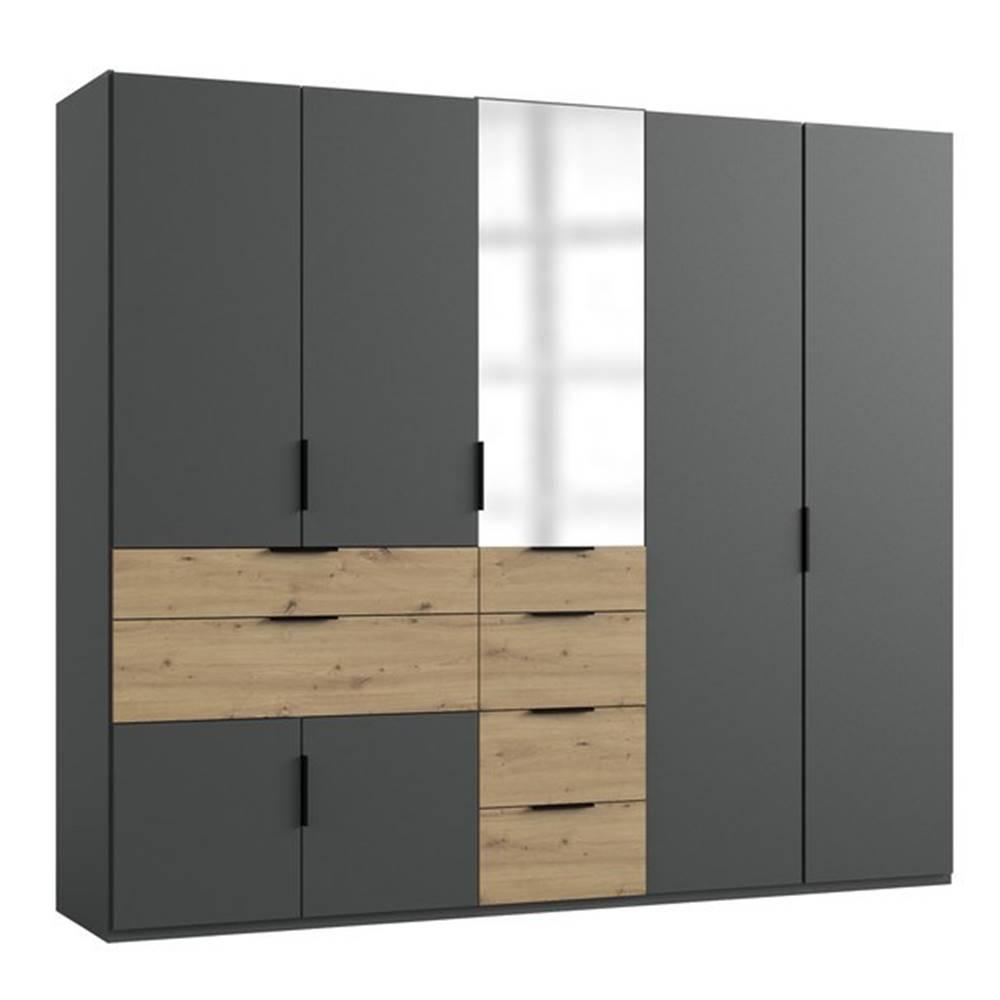 Sconto Šatníková skriňa SAVANNA dub artisan/grafit, 250 cm, 1 zrkadlo
