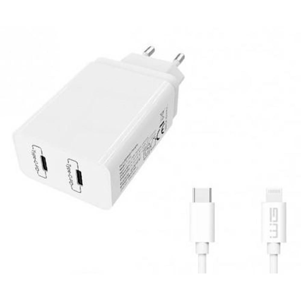 WG Nabíjačka do siete WG 2x USB-C PD 20W + Lightning kabel 1m biela