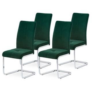 Sada jedálenských stoličiek MIRELLA 4ks-zelená/chróm