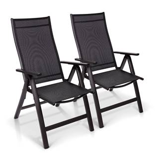 Blumfeldt London, záhradná stolička, súprava 2 kusov, textilén, hliník, 6 pozícií, skladacia
