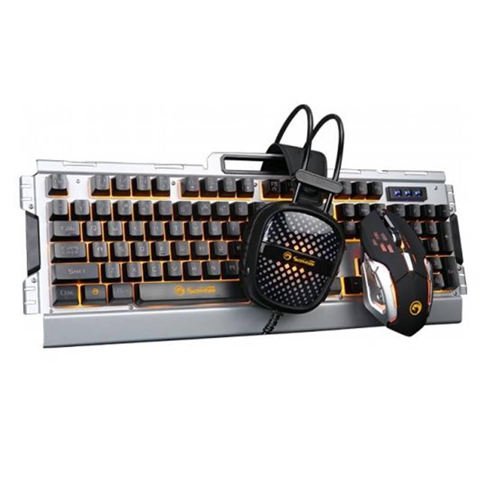 Marvo Klávesnica s myšou Marvo CM303 + headset, CZ/SK strieborná