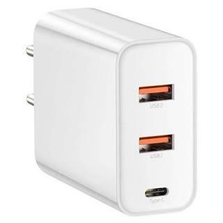 Nabíjačka do siete Baseus USB-C, 2x USB QC 3.0, 60W biela