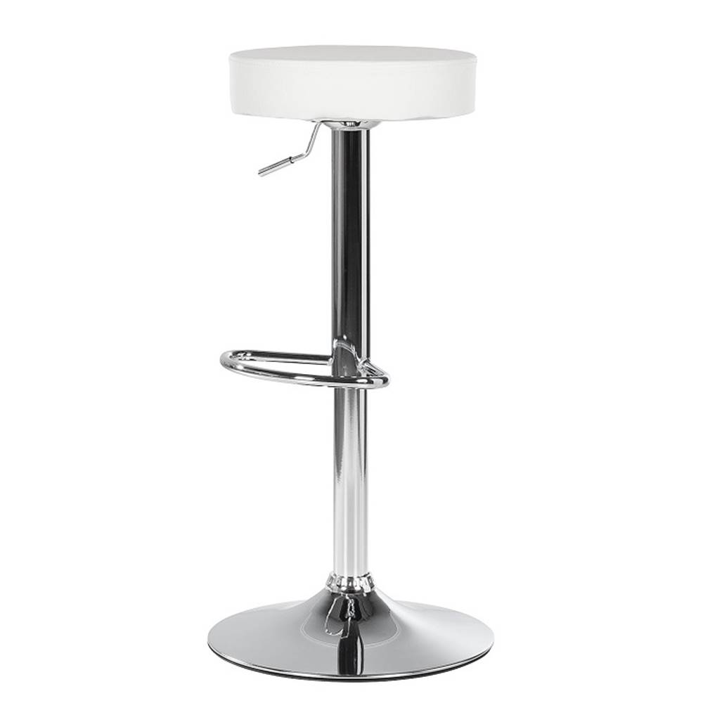 Tempo Kondela Barová stolička biela ekokoža/chróm ADALIN