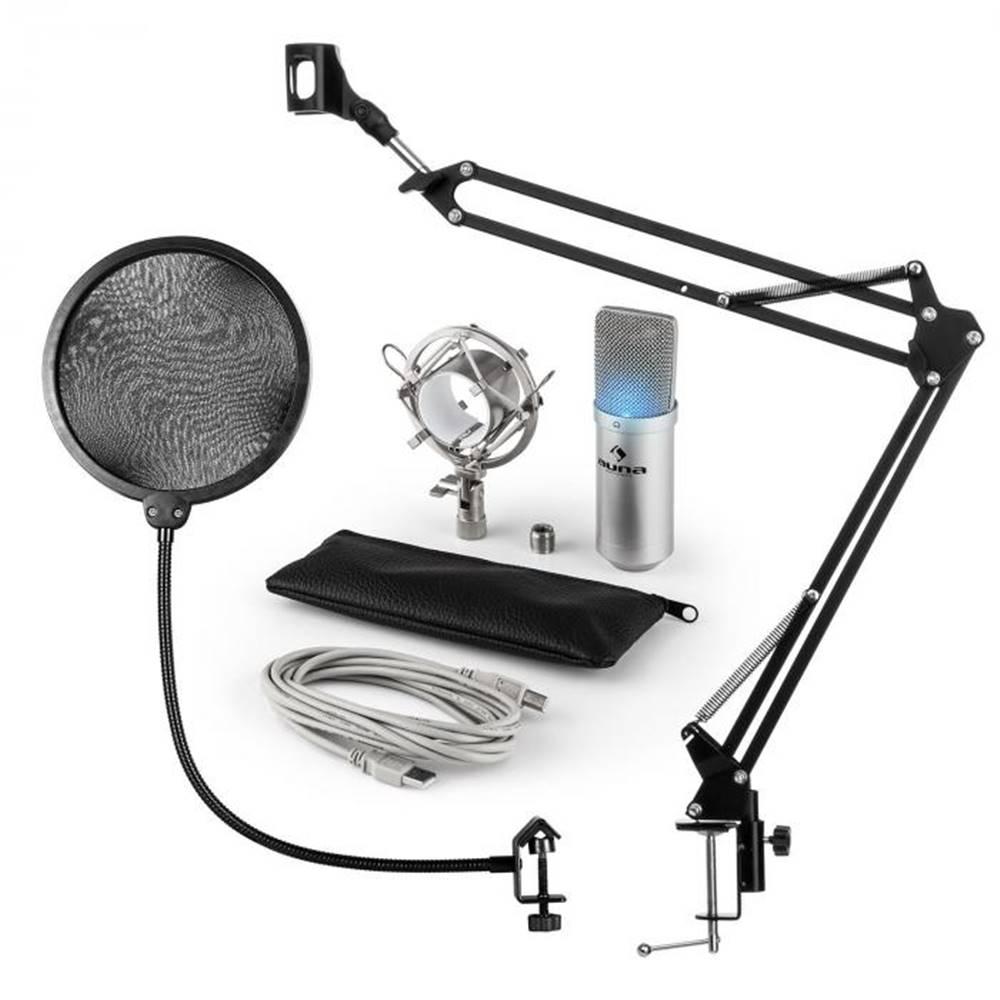 Auna Auna MIC-900S-LED, USB mikrofónová sada V4, strieborná, kondenzátorový mikrofón, pop filter, mikrofónové rameno, LED
