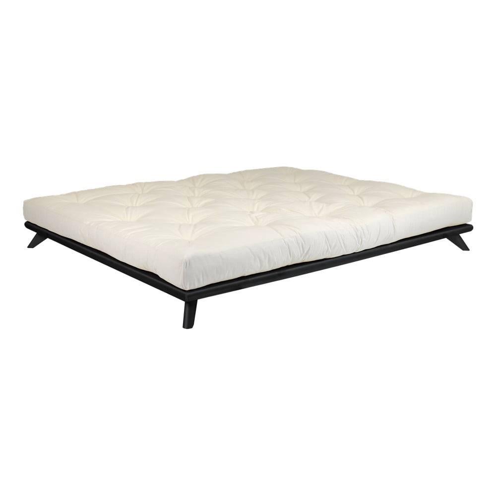 Karup Design Dvojlôžková posteľ z borovicového dreva s matracom Karup Design Senza Comfort Mat Black/Natural, 160 × 200 cm