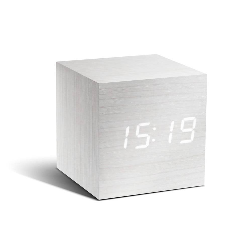 Gingko Biely budík s bielym LED displejom Gingko Cube Click Clock