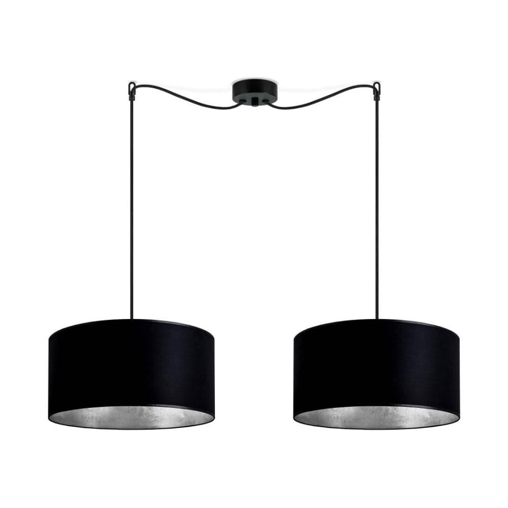 Sotto Luce Čierne dvojramenné závesné svietidlo s vnútrom v striebornej farbe Sotto Luce Mika