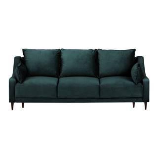 Modrozelená zamatová rozkladaca pohovka s úložným priestorom Mazzini Sofas Freesia, 215 cm
