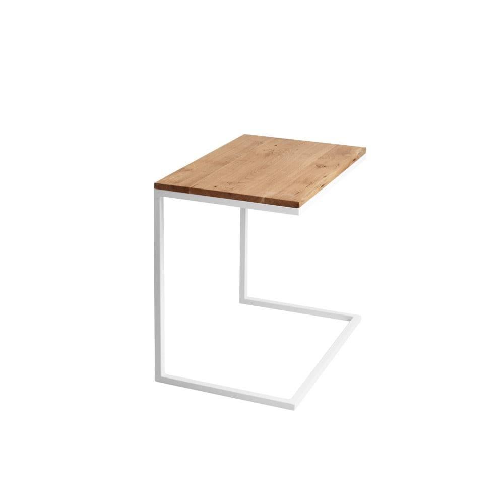 Custom Form Stôl s bielou podnožou s doskou z masívneho duba Custom Form Lupe