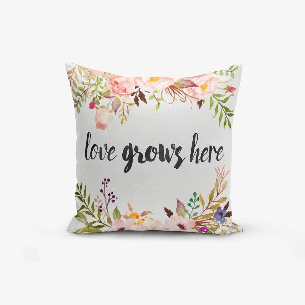 Minimalist Cushion Covers Obliečka na vankúš s prímesou bavlny Minimalist Cushion Covers Love Grows Here, 45 × 45 cm