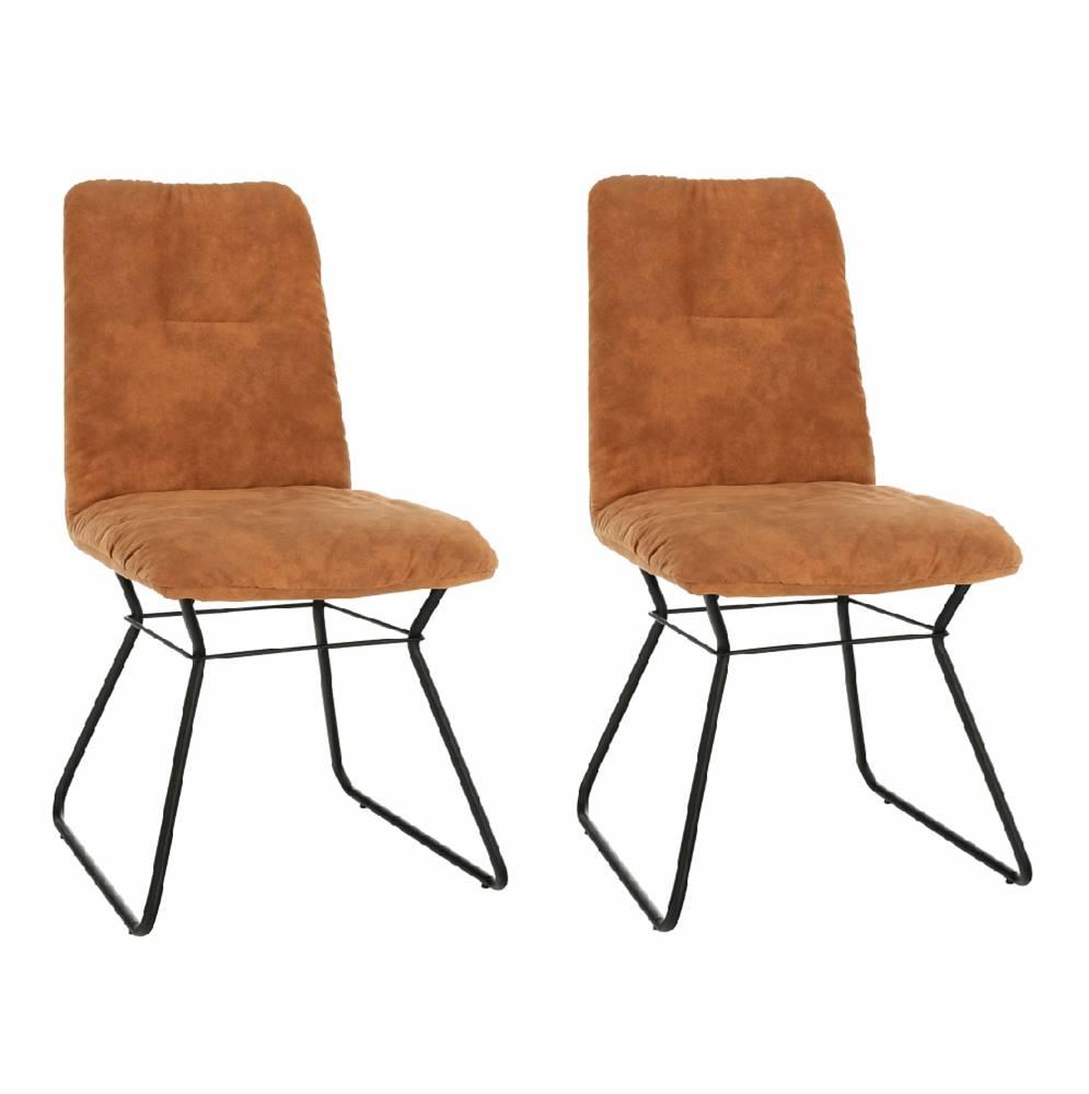 Tempo Kondela 2 kusy stolička hnedá látka s efektom brúsenej kože/čierny kov ALMIRA