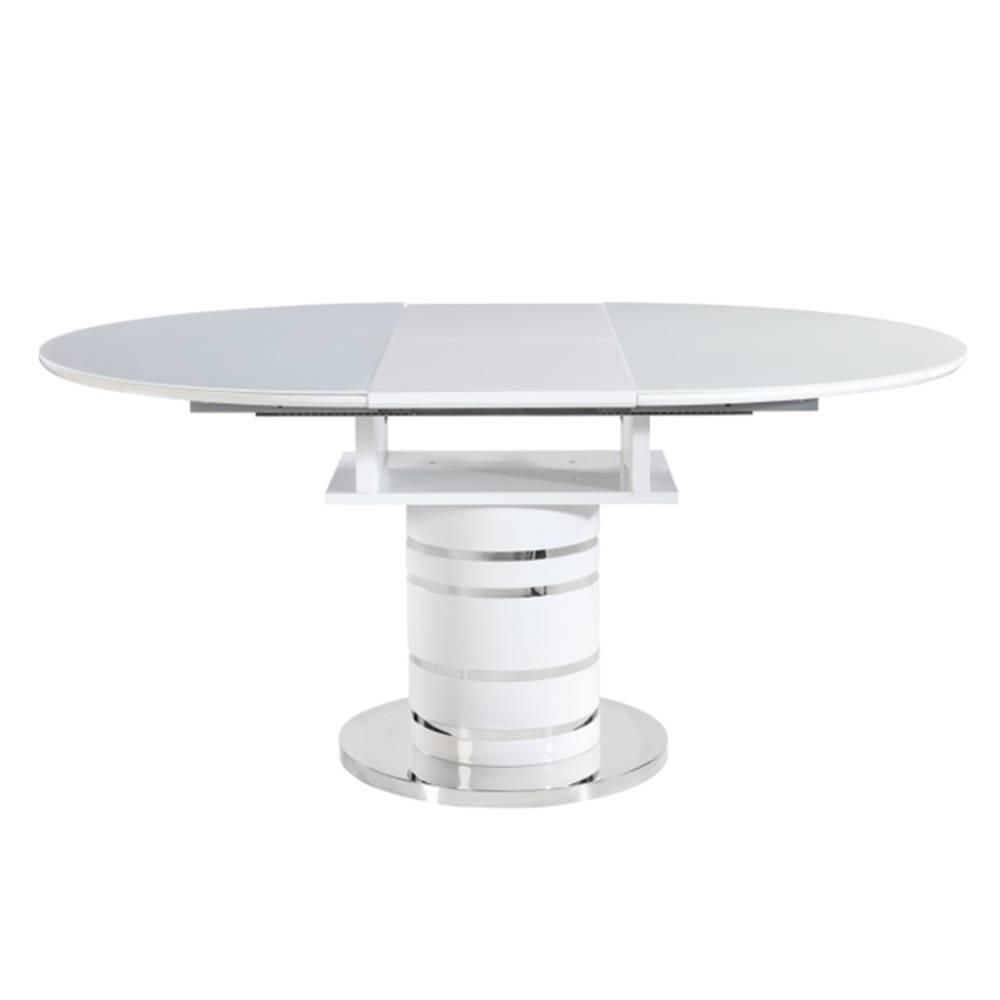 Tempo Kondela Jedálenský stôl rozkladací biela vysoký lesk HG ZAMON poškodený tovar