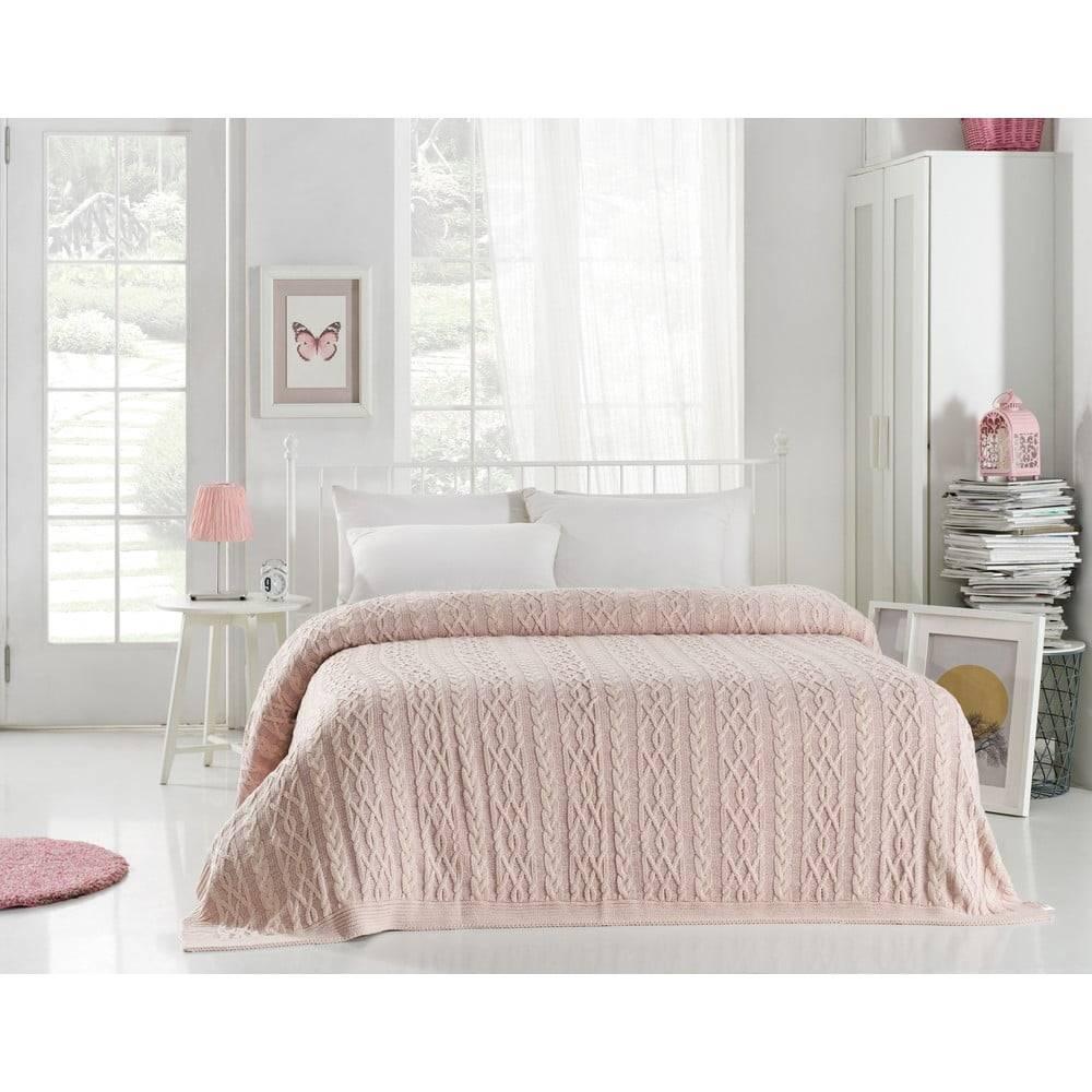 Homemania Svetloružová prikrývka cez posteľ Knit, 220 x 240 cm